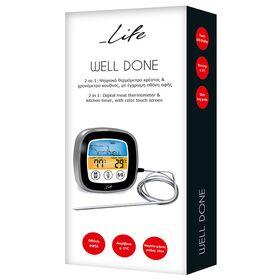 LIFE WELL DONE 2 σε 1 ψηφιακό θερμόμετρο κρέατος & χρονόμετρο κουζίνας με έγχρωμη οθόνη αφής — 14.9€ Photo Emporiki