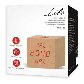 LIFE WES-105 Ξύλινο ψηφιακό θερμόμετρο/υγρόμετρο εσωτερικού χώρου — 14.9€ Photo Emporiki